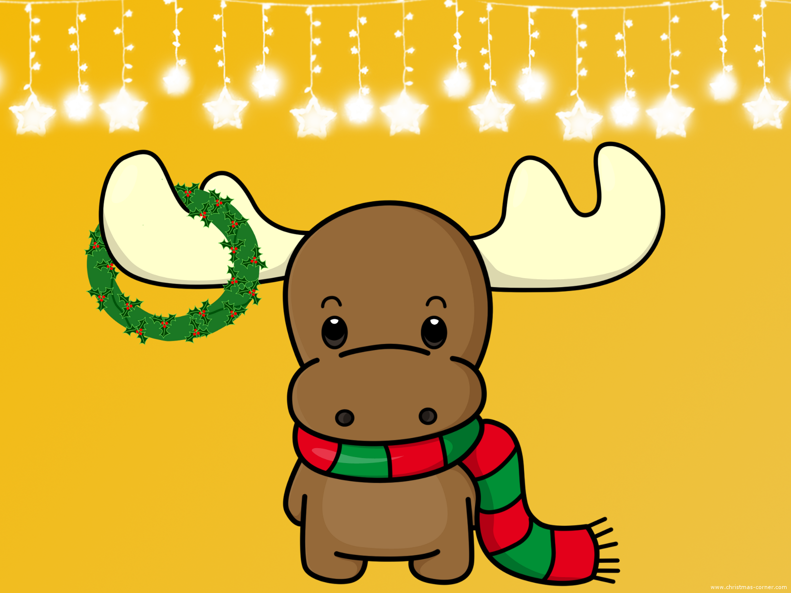 Christmas Wallpaper Moose With Wreath Standard