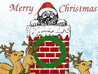Santa in Chimney Christmas wallpaper
