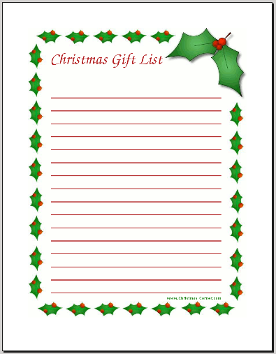 christmas gift list printable Printable Christmas Gift List Template y7IPzcis